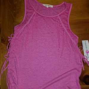NWT Pink fringe tank top size s (bb2)